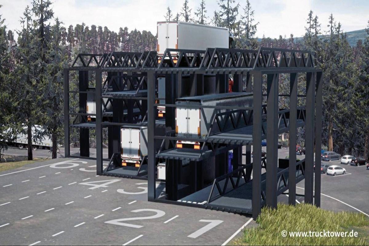 В Германии придумали многоэтажную автоматическую парковку для тяжелых грузовиков